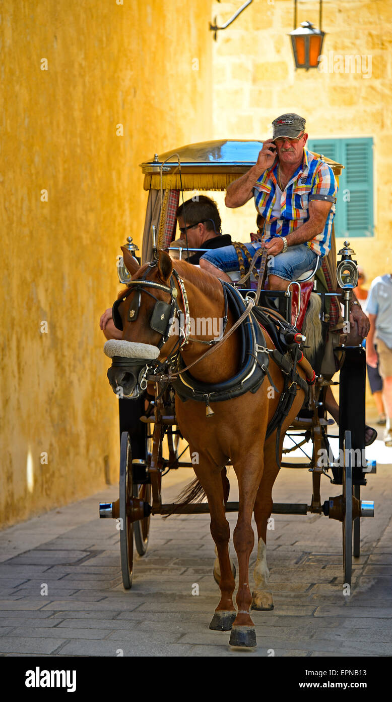 Horse and cart with tourists in the narrow streets of Mdina, also Città Vecchia or Città Notabile, Malta - Stock Image