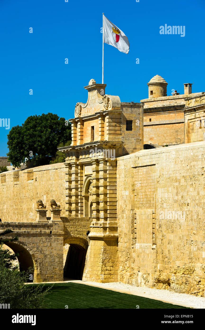 Mdina city gate, also Città Vecchia or Città Notabile, Malta - Stock Image
