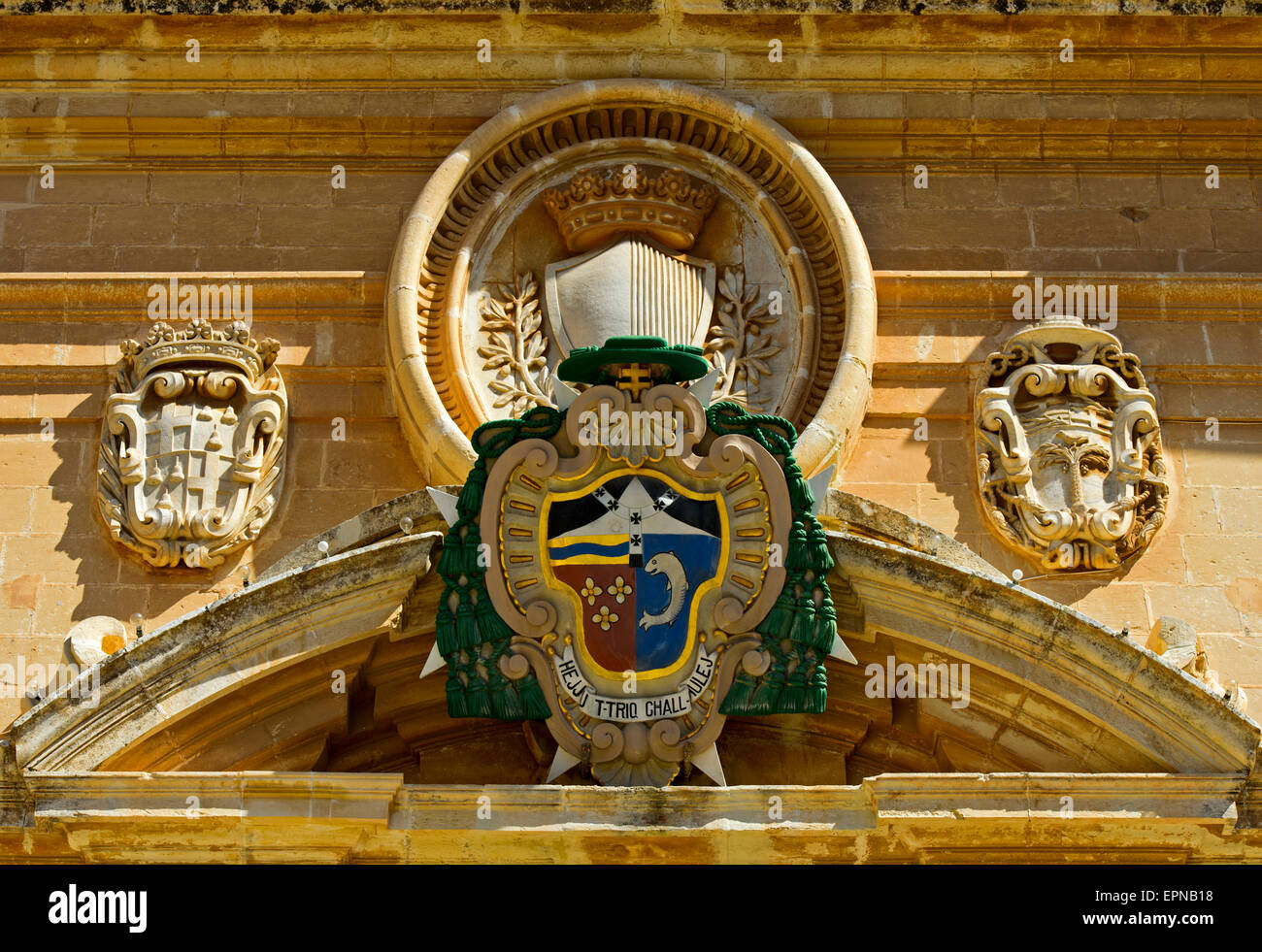 Coat of arms of the bishop at the St. Paul's Cathedral, Mdina, also Città Vecchia or Città Notabile, - Stock Image