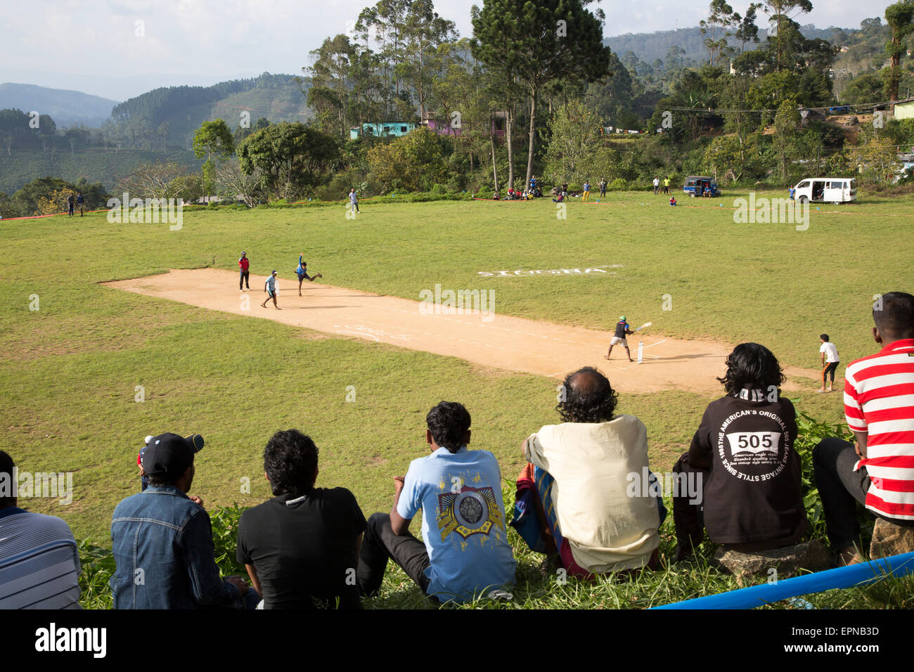 People watching cricket match, Haputale, Badulla District, Uva Province, Sri Lanka, Asia - Stock Image