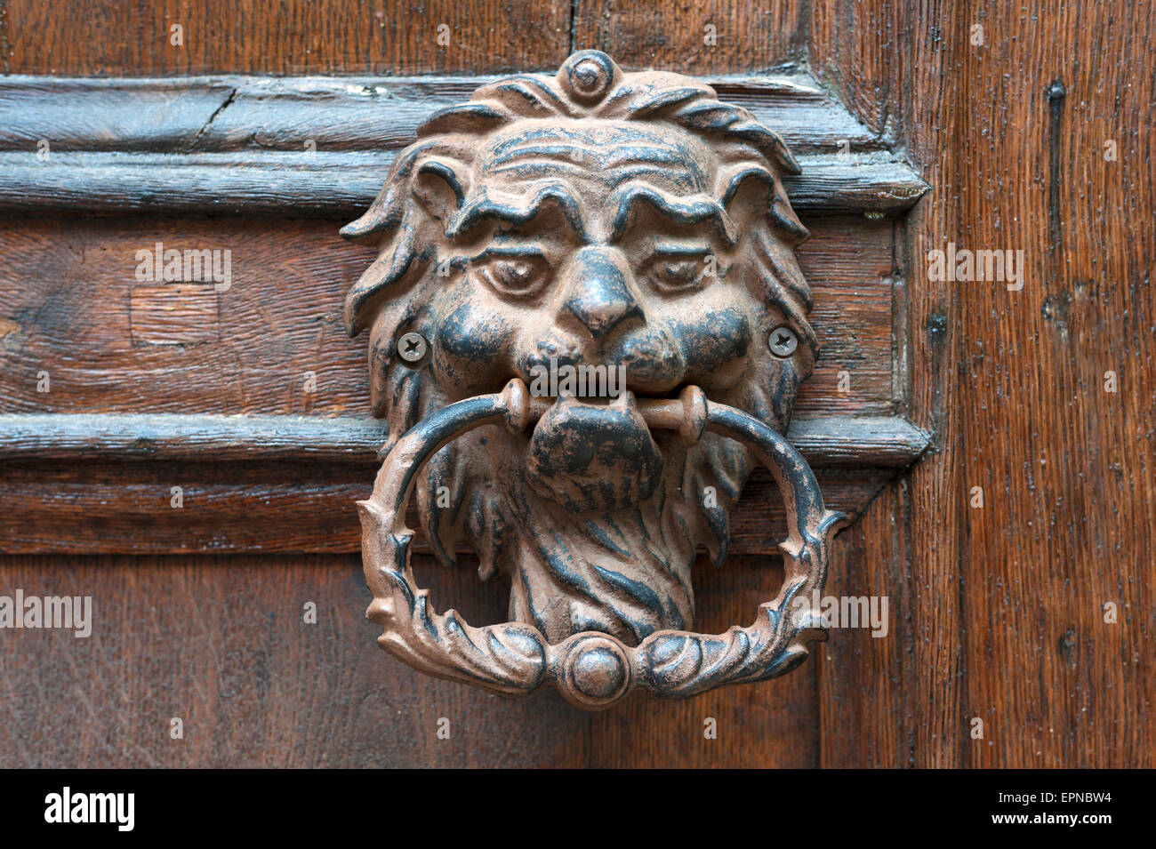 Lionhead as doorknocker of an entrance door, Königsberg, Bayern, Germany Stock Photo