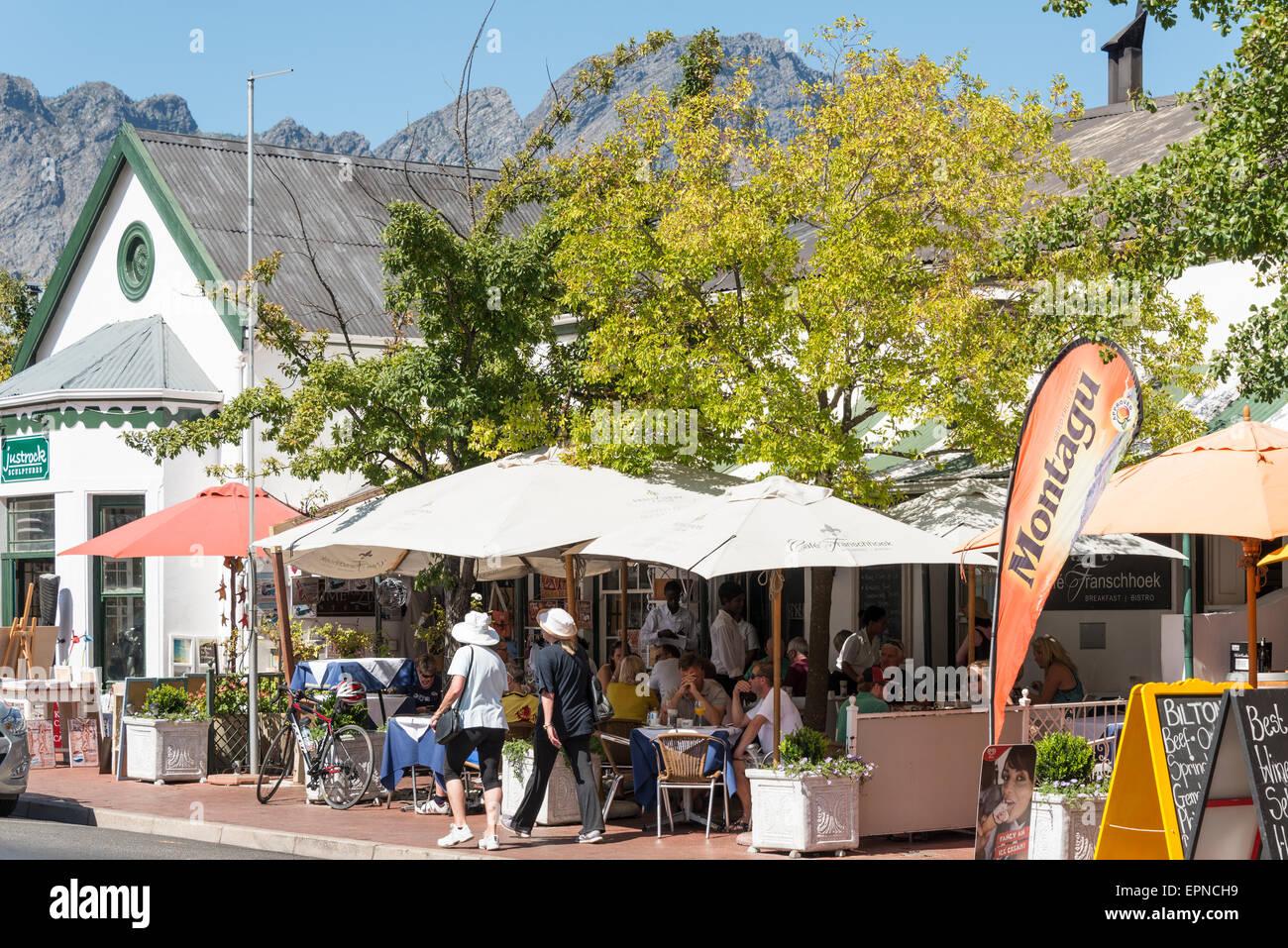 Cafe Franschhoek Bistro, Huguenot Road, Franschhoek, Cape Winelands District, Western Cape Province, Republic of - Stock Image