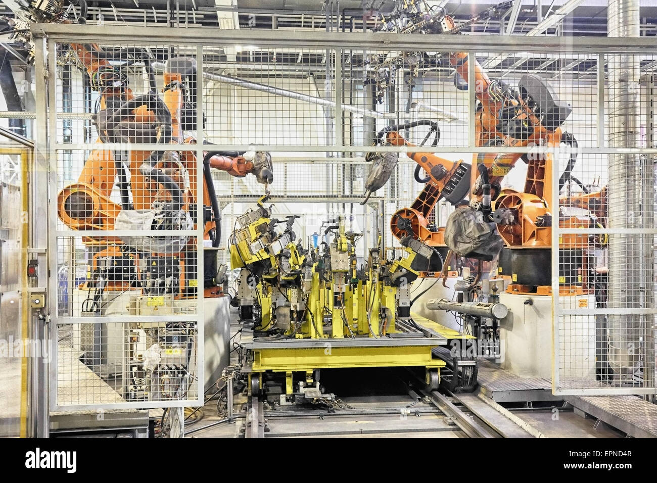 robots in a car factory - Stock Image