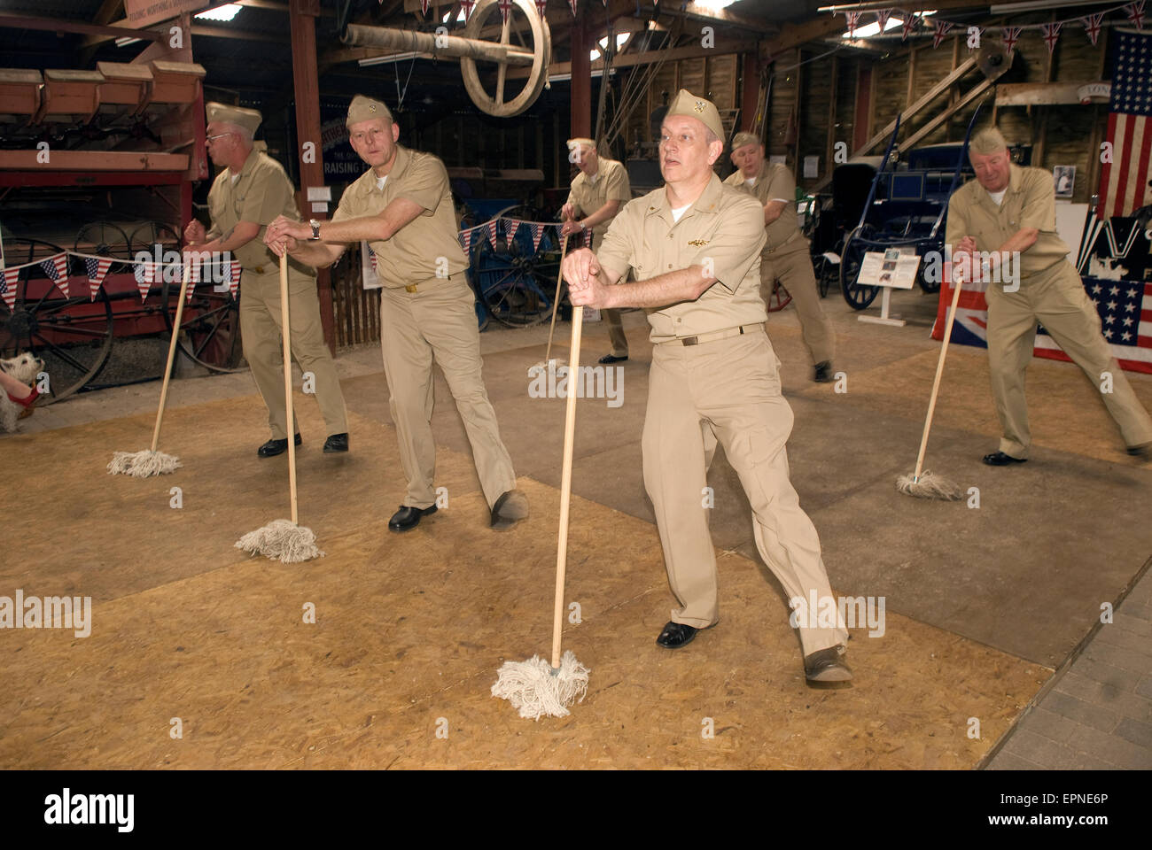 US servicemen doing the 'Shim sham' dance during a Village At War event (WW2), Rural Life Centre, Tilford, - Stock Image