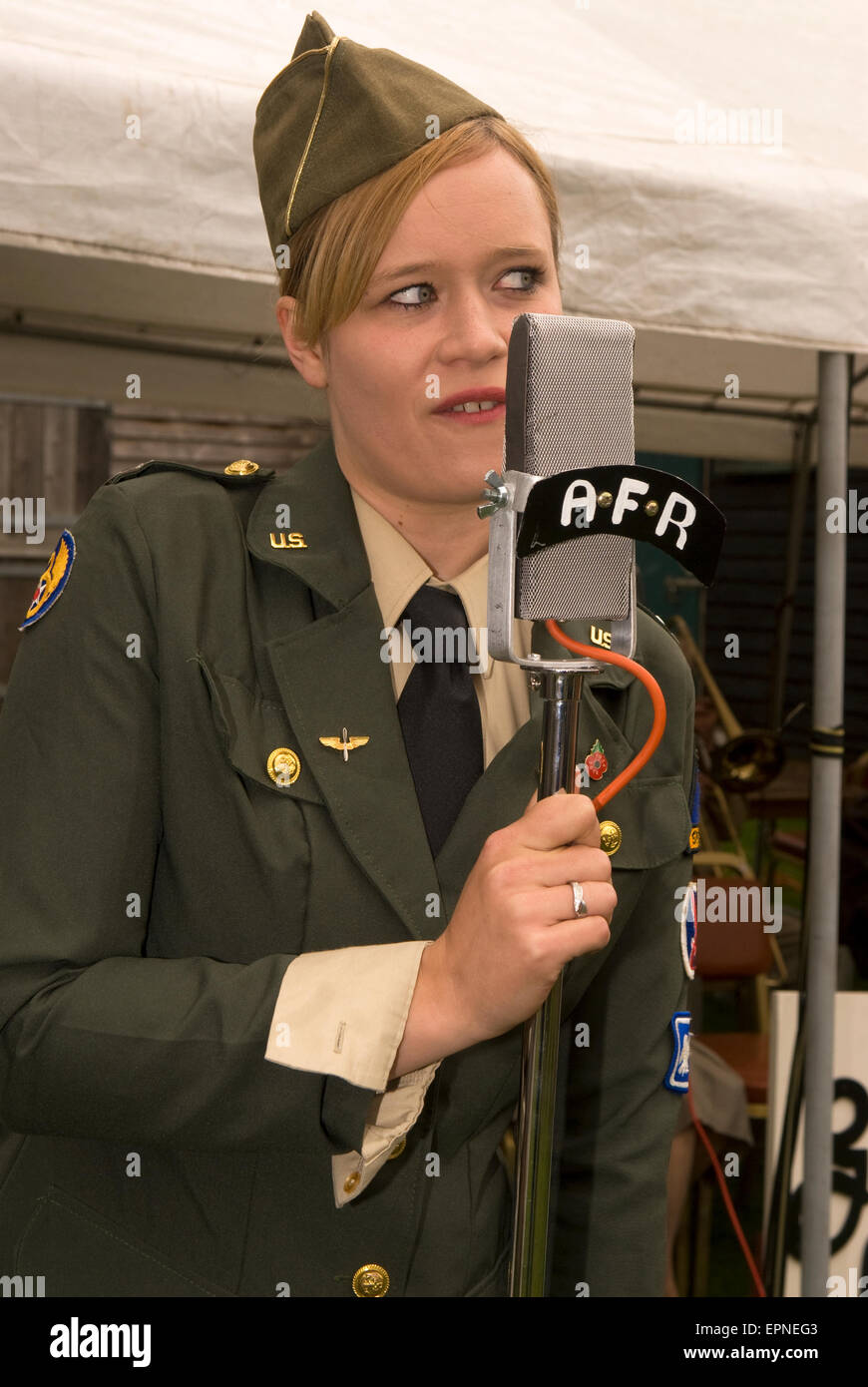 Female member of the Glenn Miller Tribute Band performing at a Village At War event (WW2), Rural Life Centre, Tilford, - Stock Image
