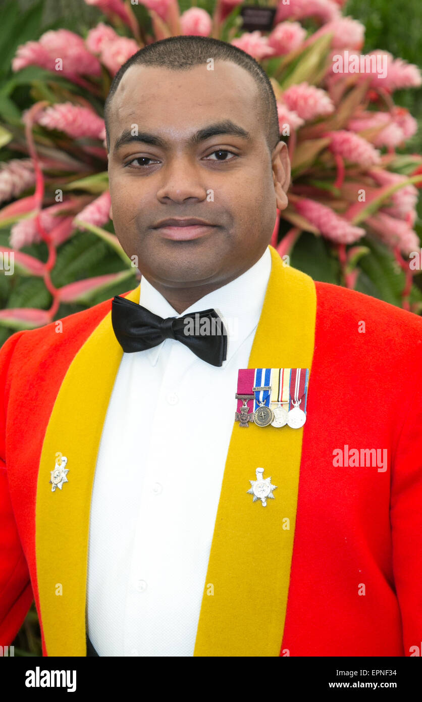 Lance Sergeant Johnson Gideon Beharry at the RHS Chelsea Flower Show.He was awarded the Victoria Cross for bravery - Stock Image