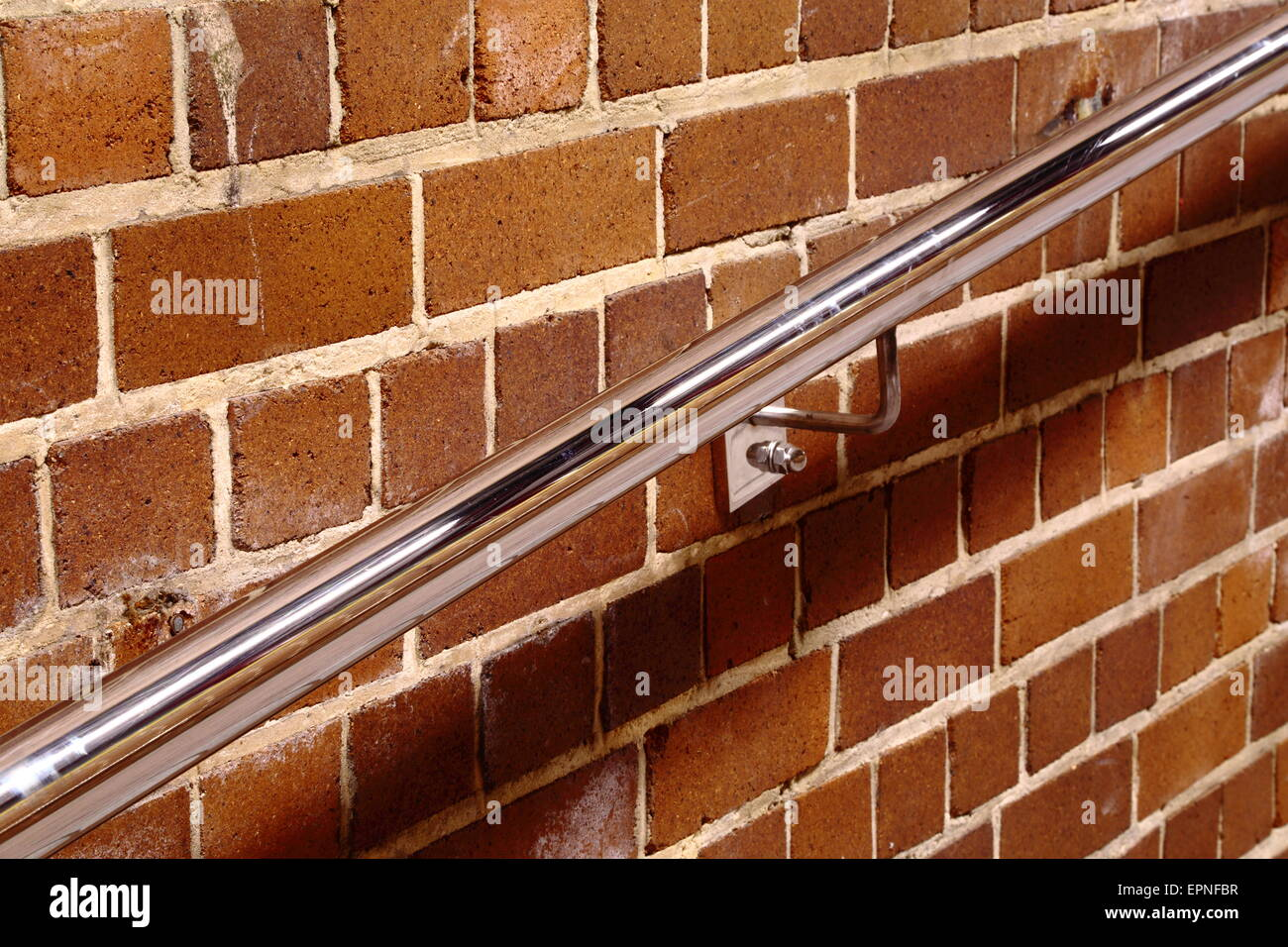 A stainless-steel handrail at Katoomba Railway Station in Katoomba - the Blue Mountains of NSW, Australia - Stock Image