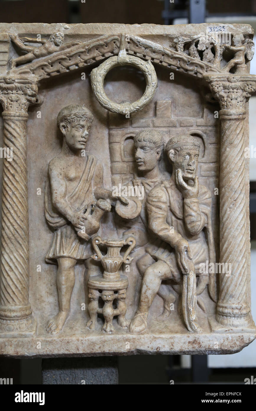Early Christian. Roman Passion sarcophagus. Christ before Pilatus. Mid 4th c. AD. Vatican Museum. - Stock Image