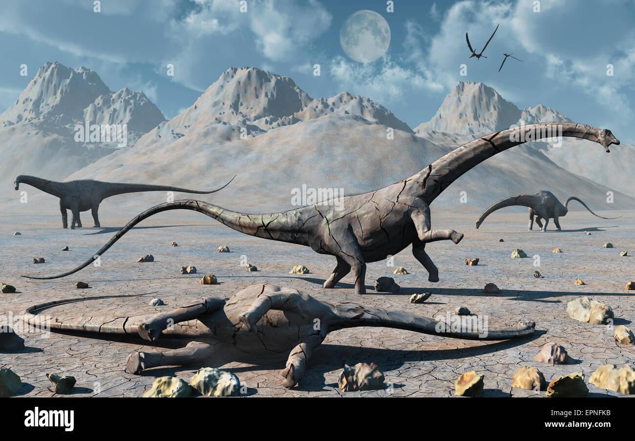 Petrified Diplodocus Dinosaurs. Stock Photo