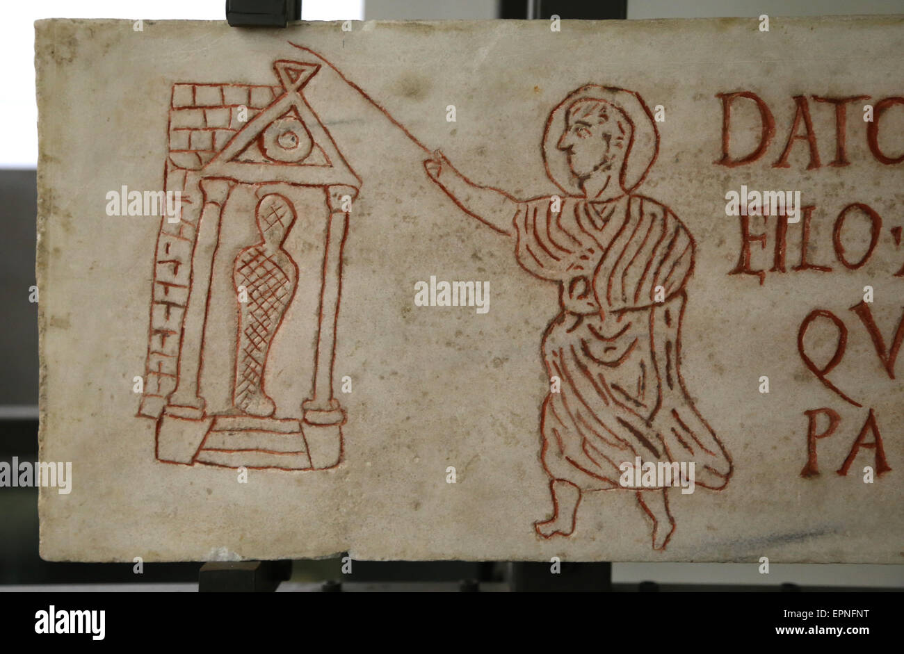Early Christian. Gravestone of Datus. Figure represent the resurrection of Lazurus. From Catacombs. Rome. 3rd C. - Stock Image