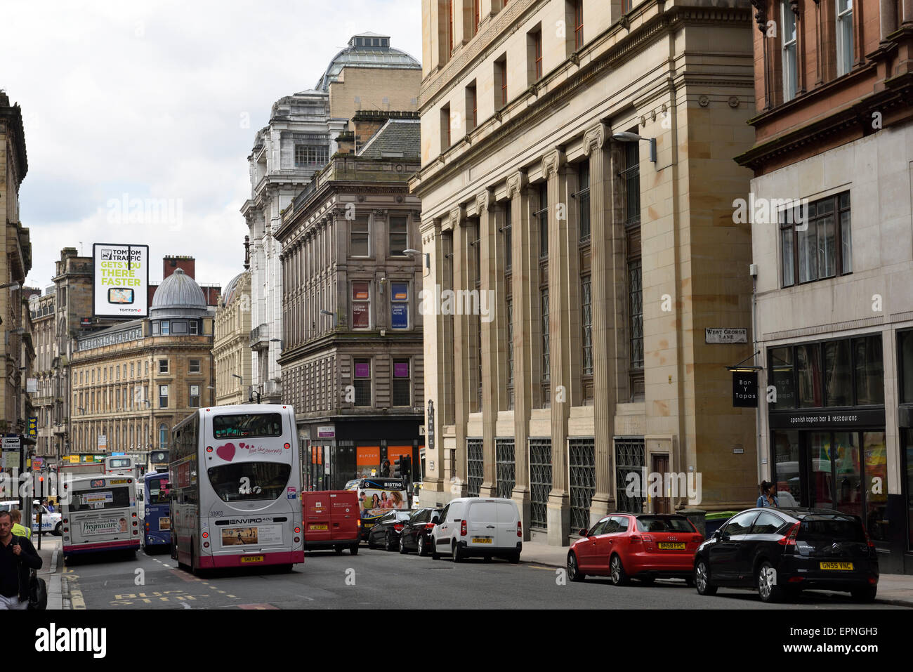 Bank of Scotland and Renfield Street downtown Glasgow Scotland UK - Stock Image