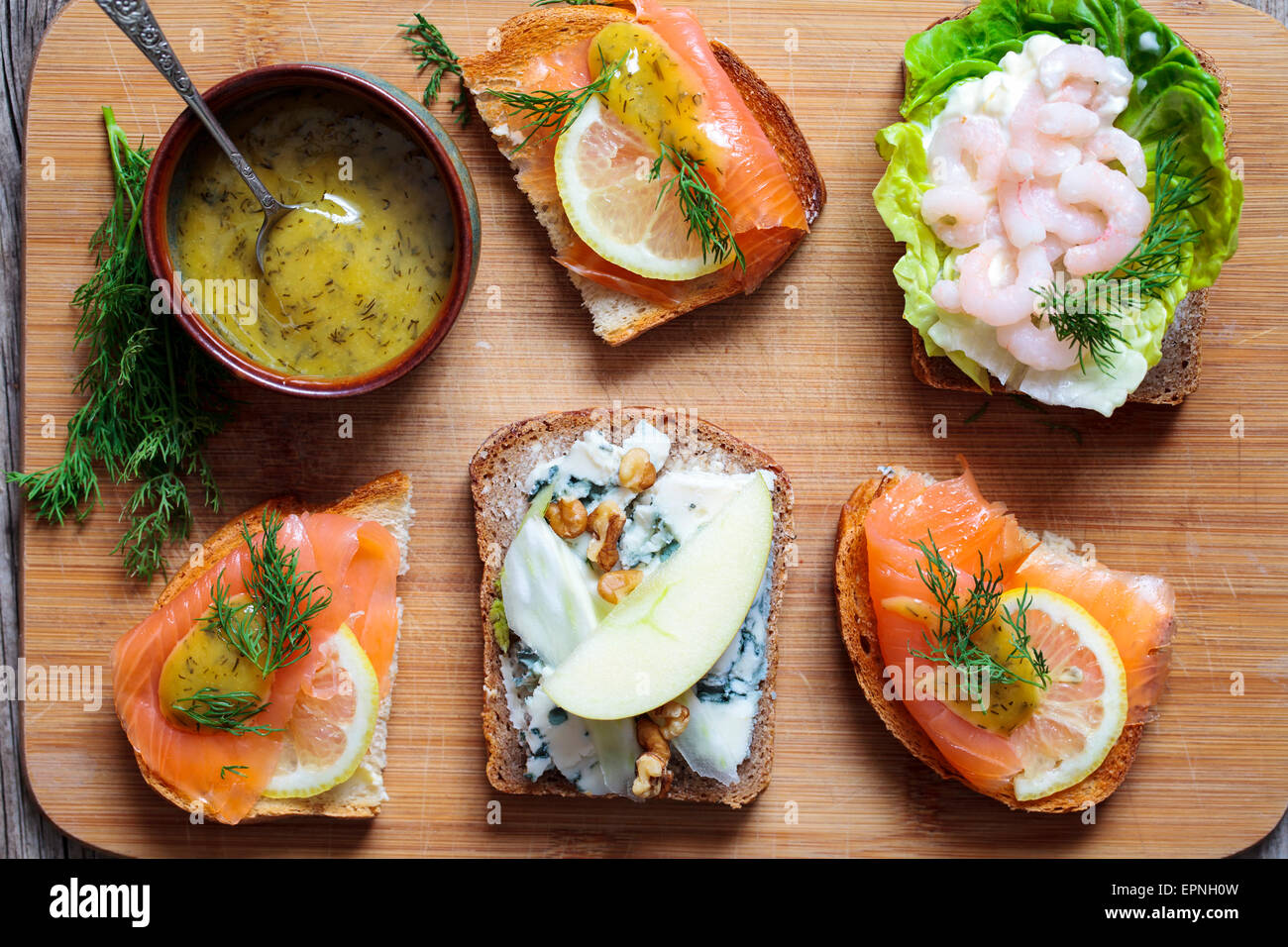 Selection of Scandinavian open sandwiches Stock Photo