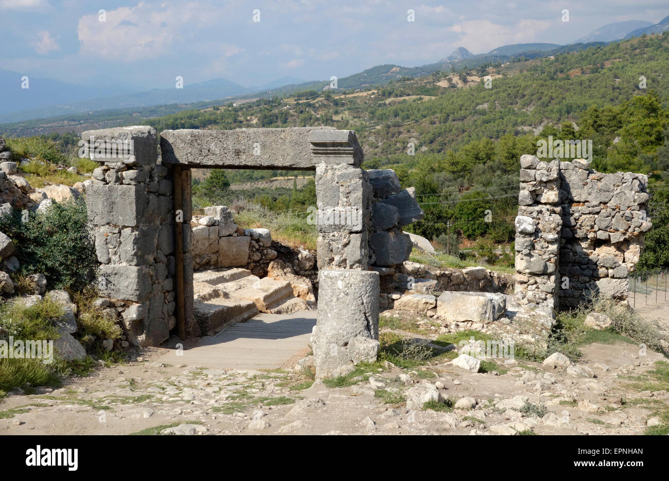 Entrance through the fortified wall at the north side of the ancient city of Tlos, Turkey - Stock Image