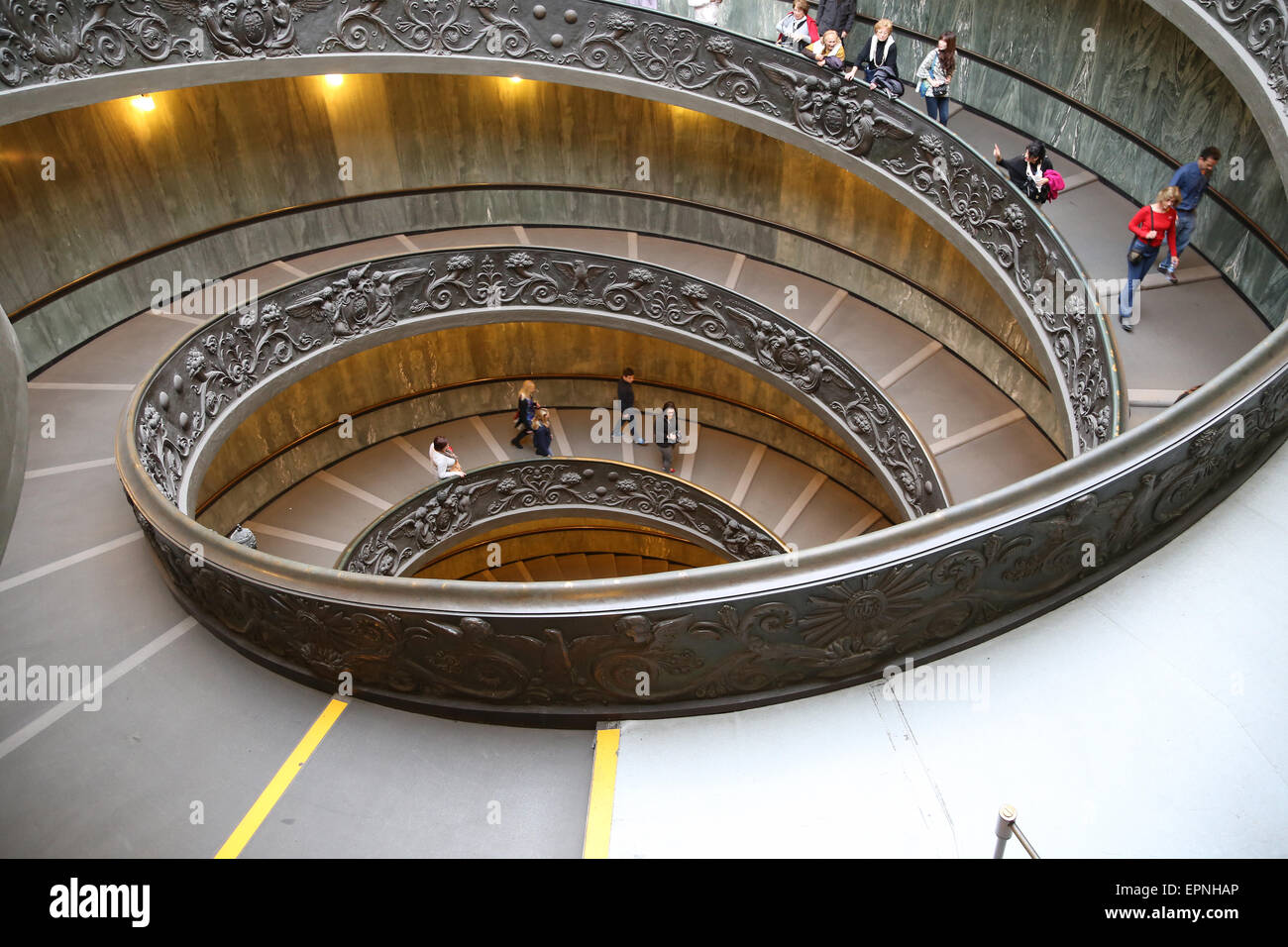 Bramante Staircase. Vatican Museums. Designed by Giuseppe Momo, 1932, inspired by spiral staircase designed by Bramante - Stock Image