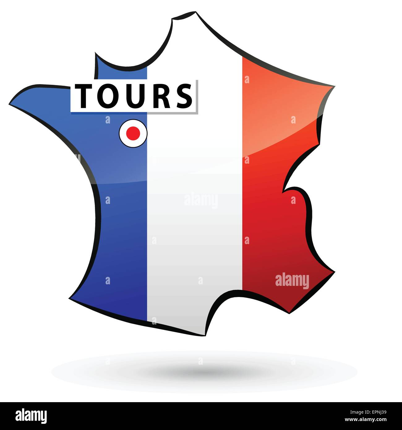 illustration of french map icon for tours - Stock Vector