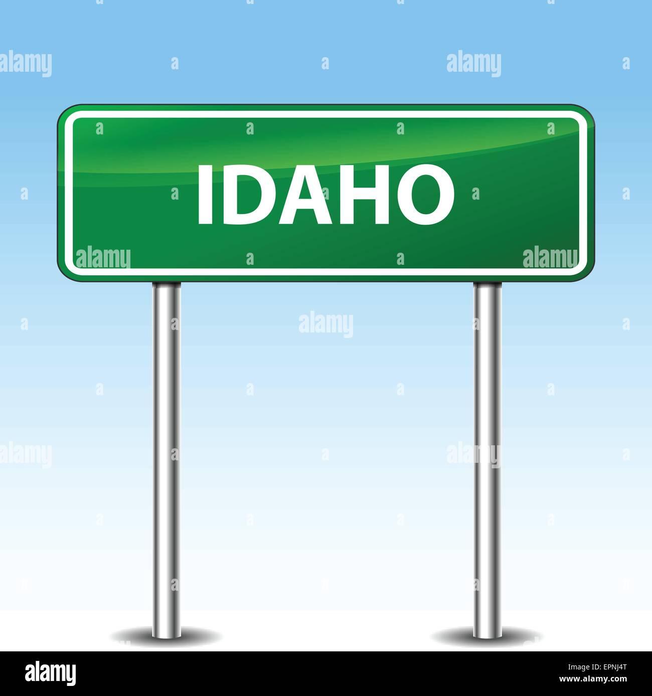 Illustration of idaho green metal road sign - Stock Vector