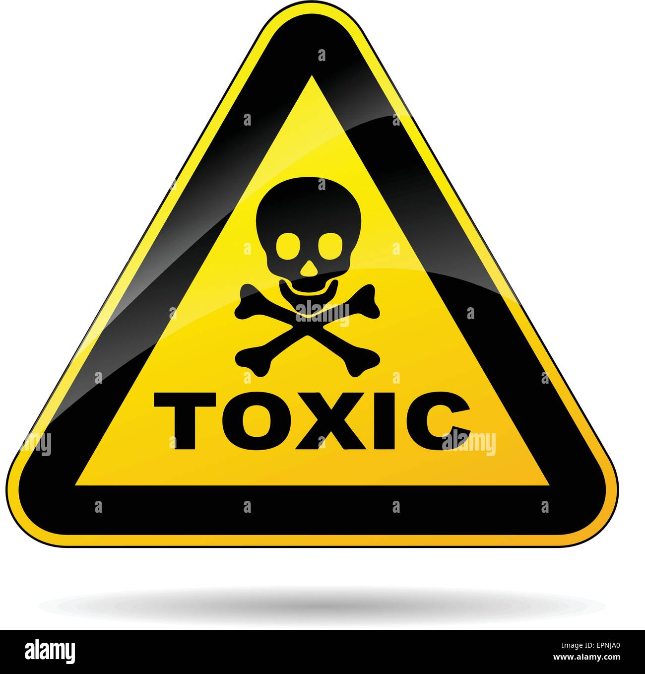 illustration of yellow triangle sign for toxicity - Stock Image