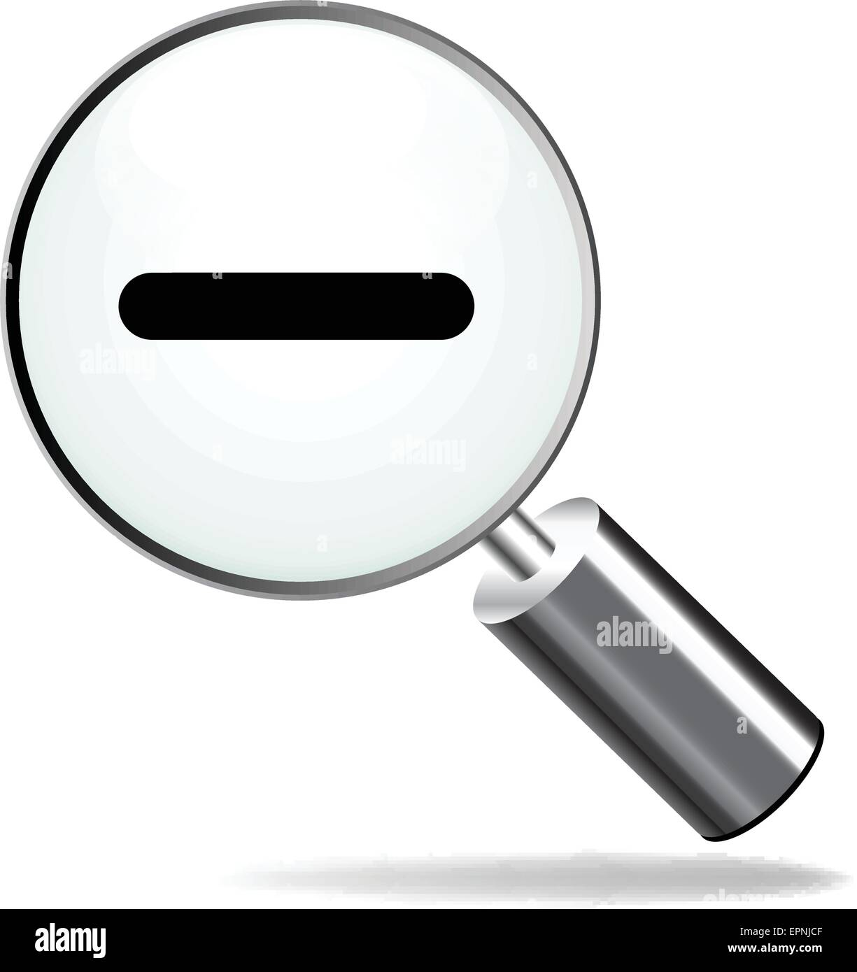 illustration of magnifying zoom moins icon on white background - Stock Vector