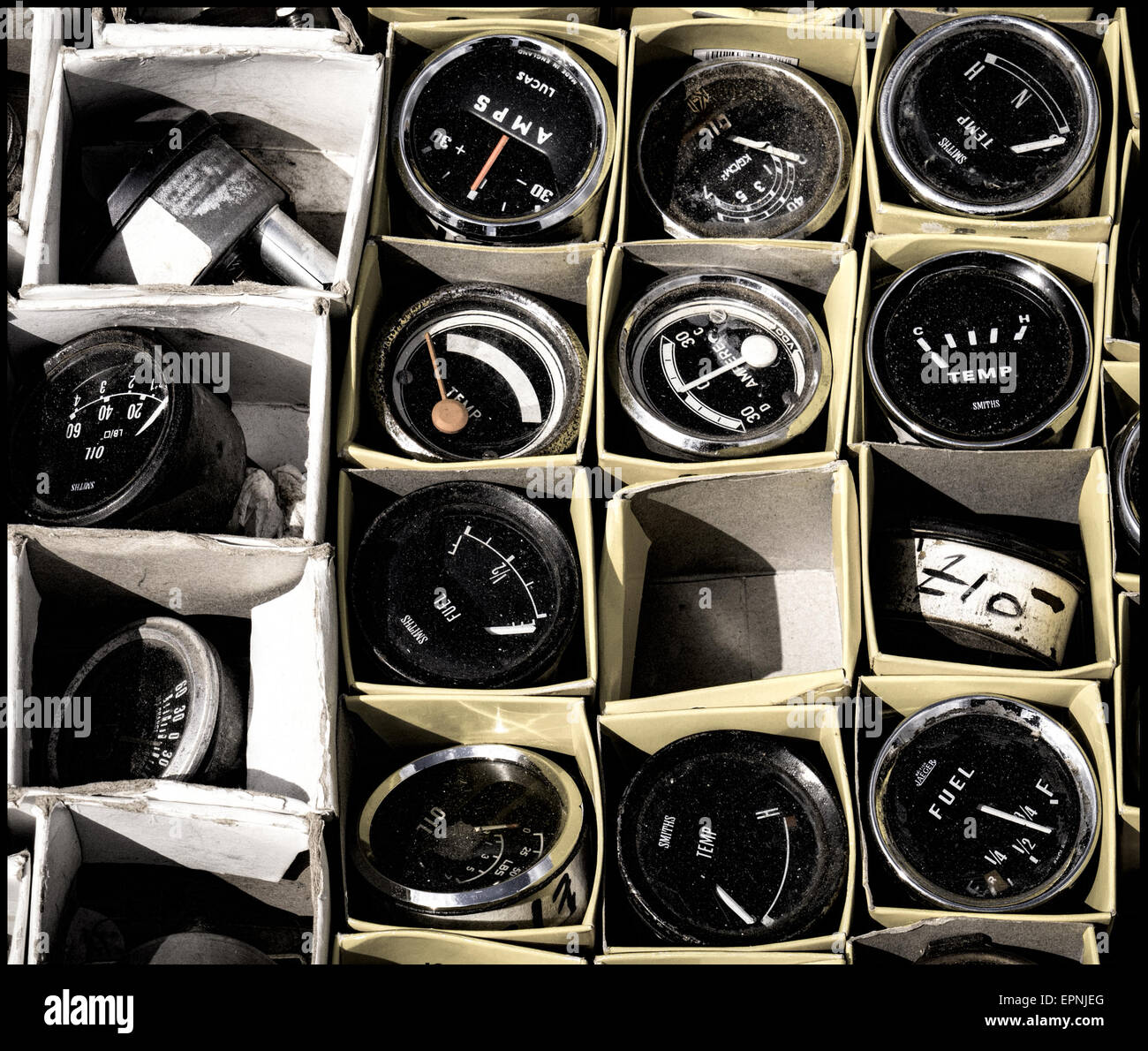 Old car guages and dials - Stock Image