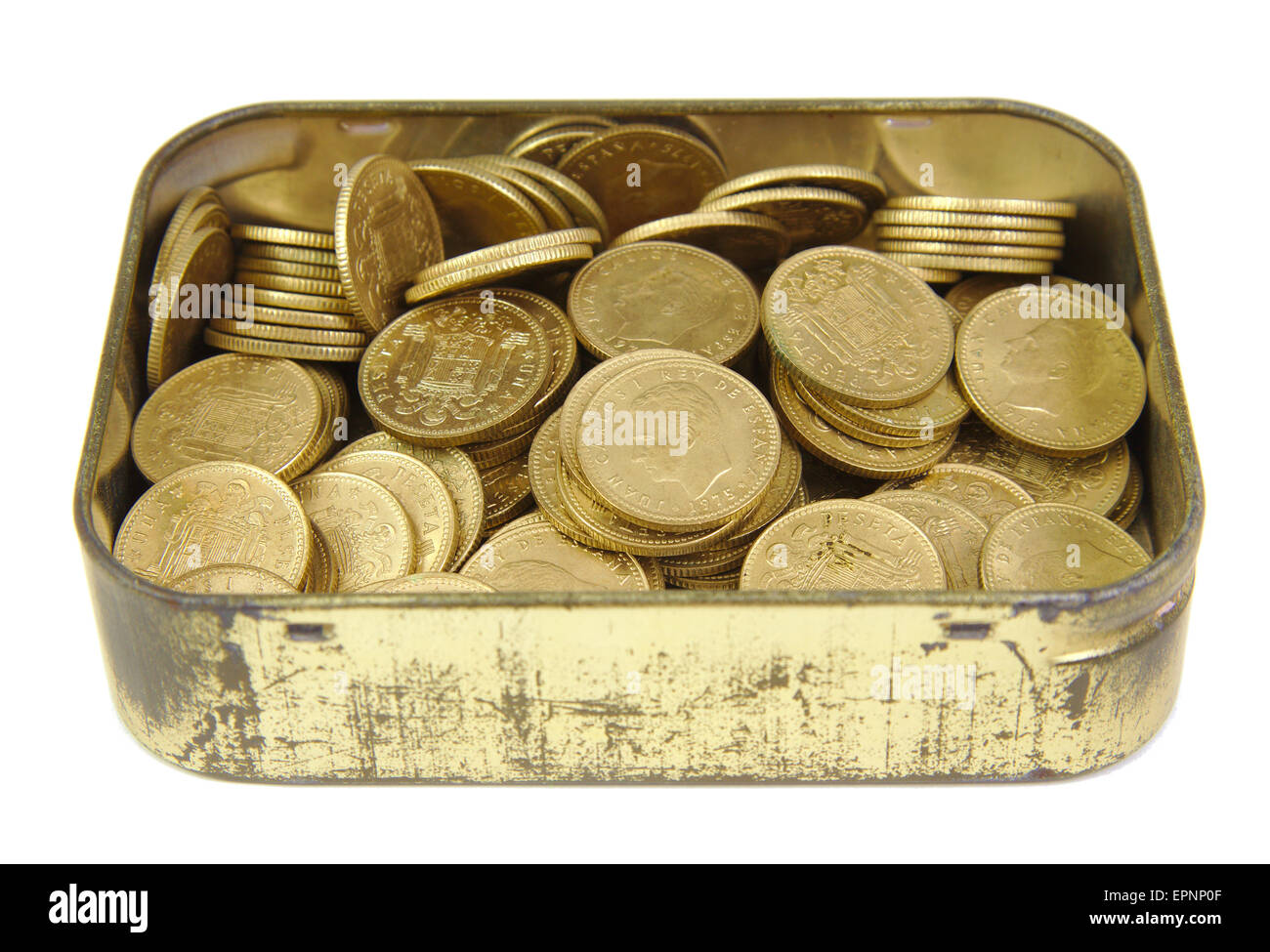 Bunch of old Spanish coins in a golden box isolated on white Stock