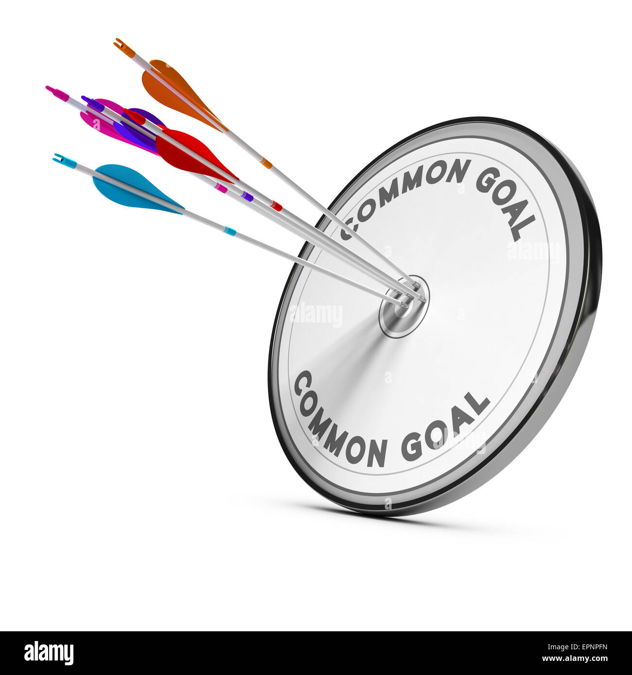 Many arrows hitting the same target, Concept image for business cooperation or common goal. - Stock Image
