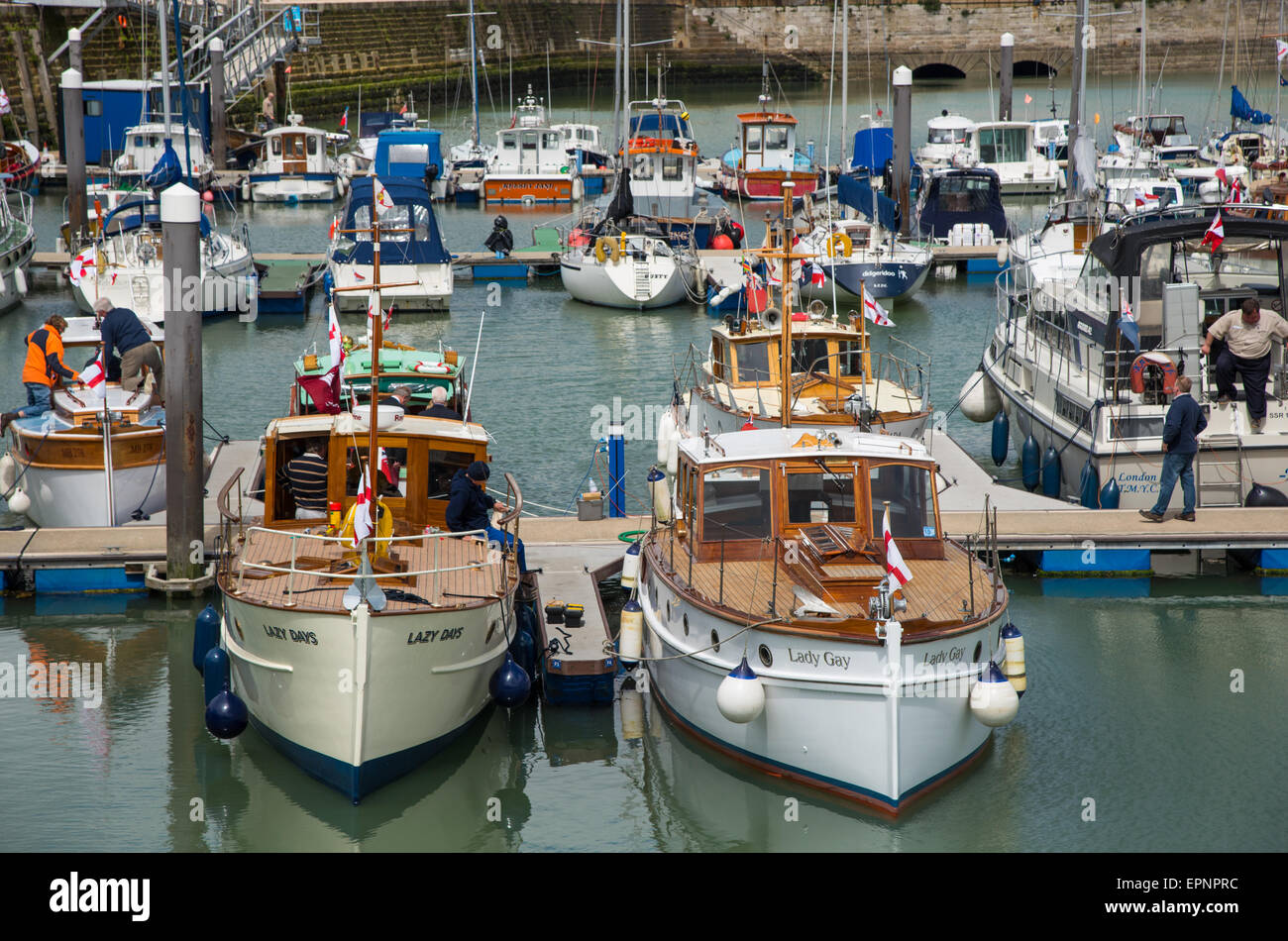 Ramsgate, UK. 20th May, 2015. Motor Yachts Lazy Days and Lady Gay in Ramsgate Royal Harbour for the 75th anniverasary - Stock Image