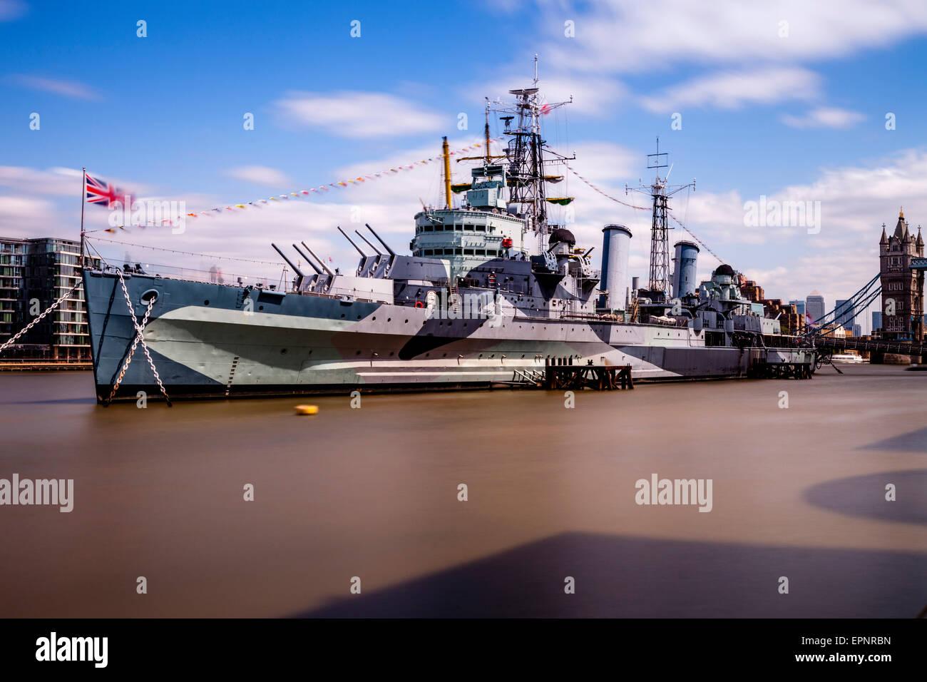 HMS Belfast, River Thames, London, England - Stock Image