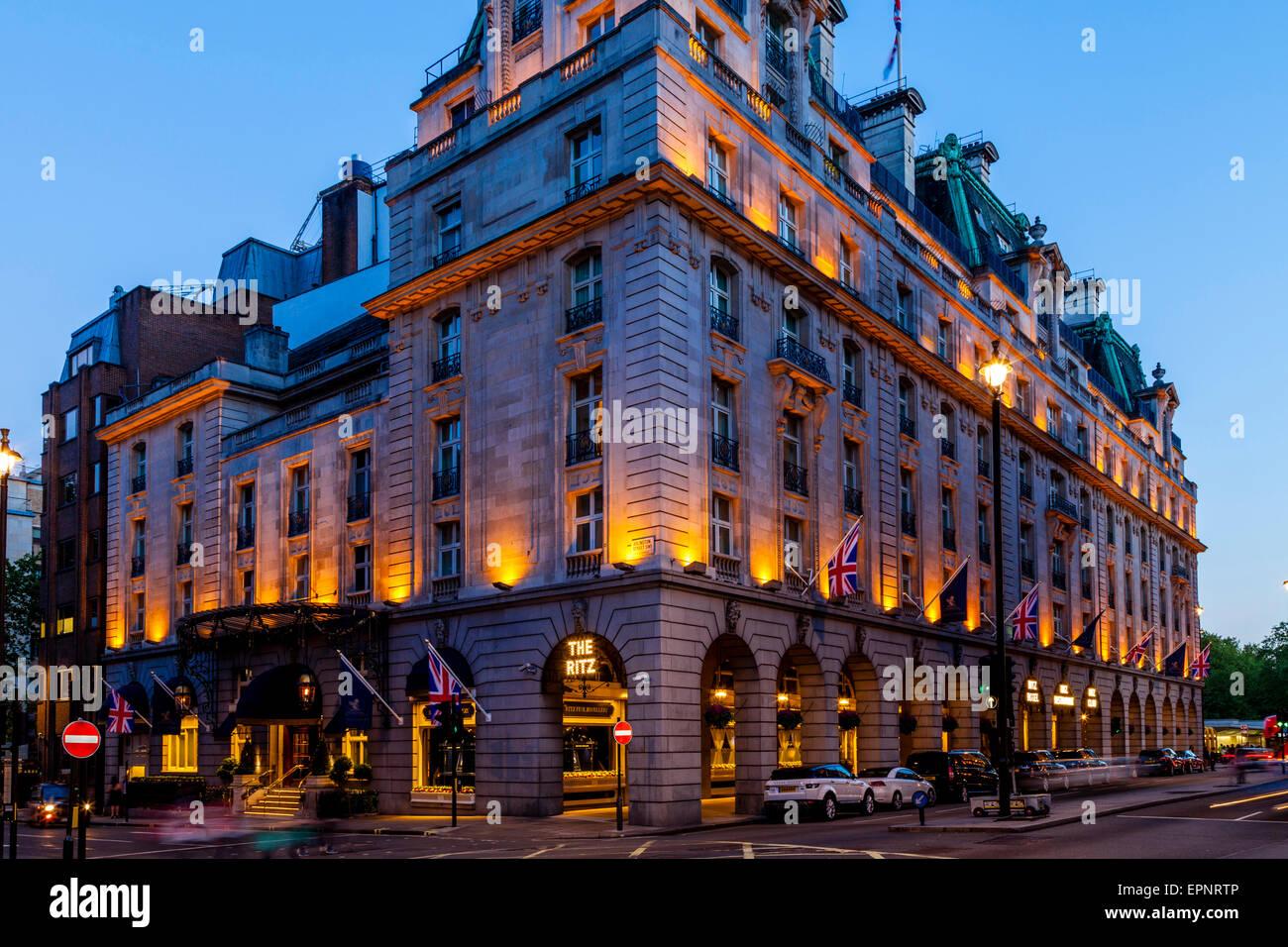 The Ritz Hotel At Night, London, England - Stock Image