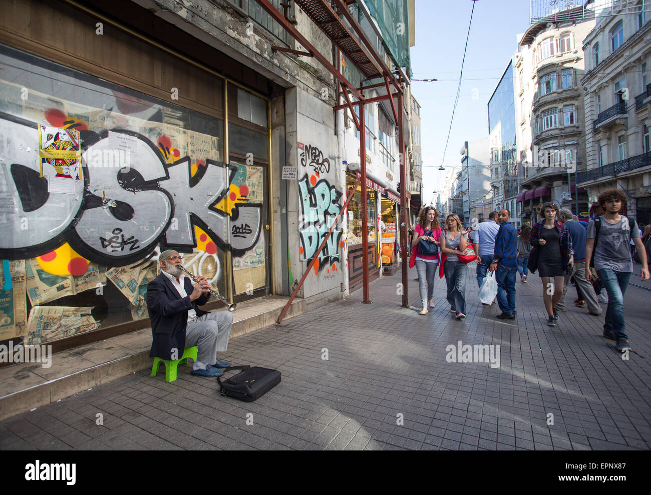 A busker in Istiklal in Istanbul Turkey Stock Photo