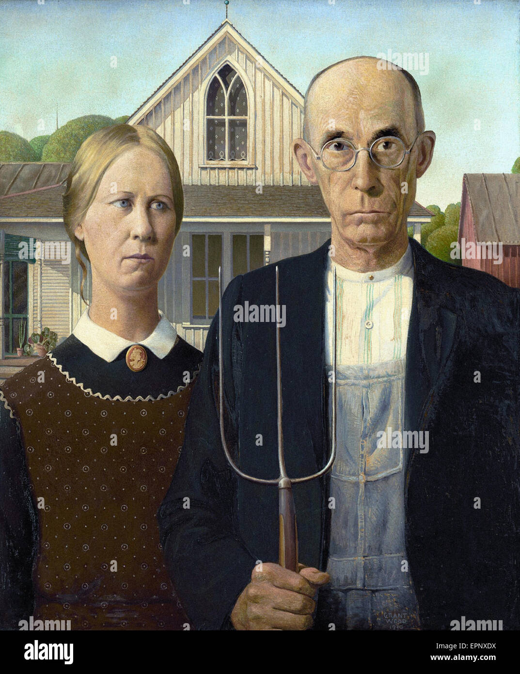Grant Wood  American Gothic - Stock Image