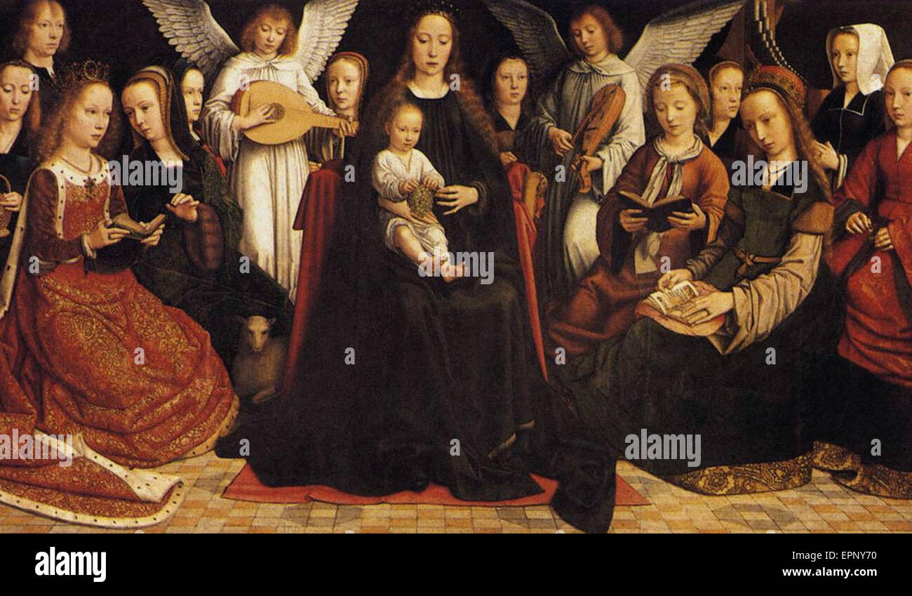 Gerard David  Madonna with Angels and Saints - Stock Image