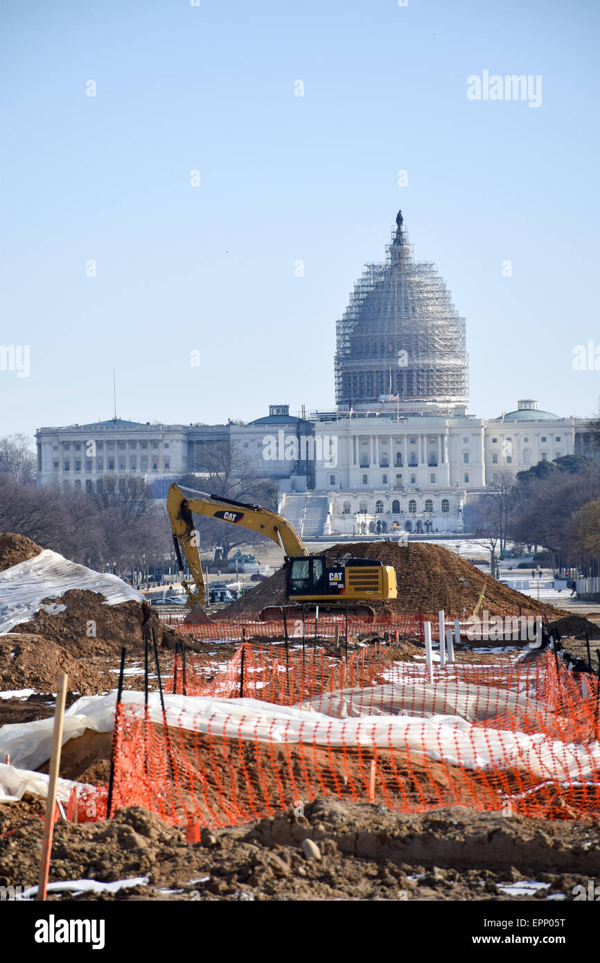 WASHINGTON DC, USA - Renovations on a section of the eastern end of the National Mall in Washington DC, with the - Stock Image