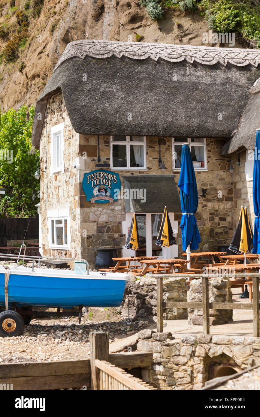 Fisherman's Cottage hot and cold meals ales and wine freehouse at Shanklin, Isle of Wight in May - Stock Image