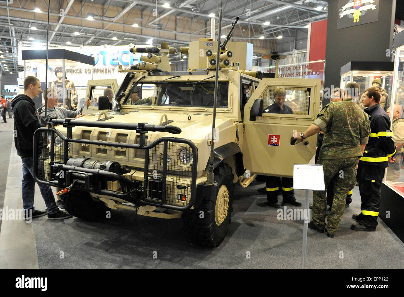 Brno, Czech Republic. 20th May, 2015. Iveco 4x4 Armoured vehicle was presented at the international trade fair of Stock Photo