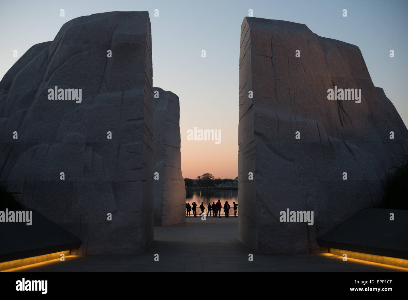 WASHINGTON DC, USA - A view of the MLK Memorial before dawn, looking through the Mountain of Hope towards the water - Stock Image