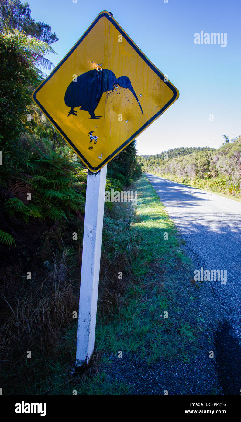 Yellow beware of Kiwis warning road sign by the side of a road in South Island New Zealand - Stock Image