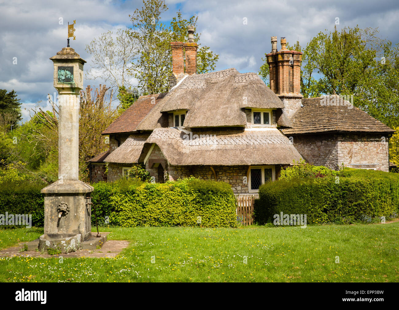 Blaise Hamlet is a collection of pretty cottages in the vernacular style on the Blaise estate in Bristol UK - Stock Image