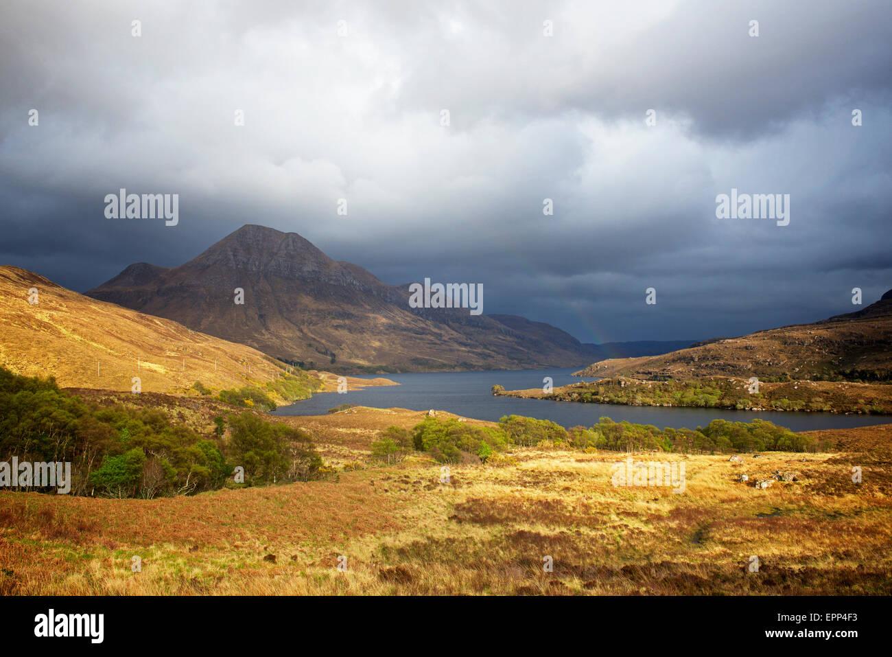 Cul Beag mountain and Loch Lurgainn, near Ullapool, Ross-shire, Scottish Highlands, Scotland UK - Stock Image