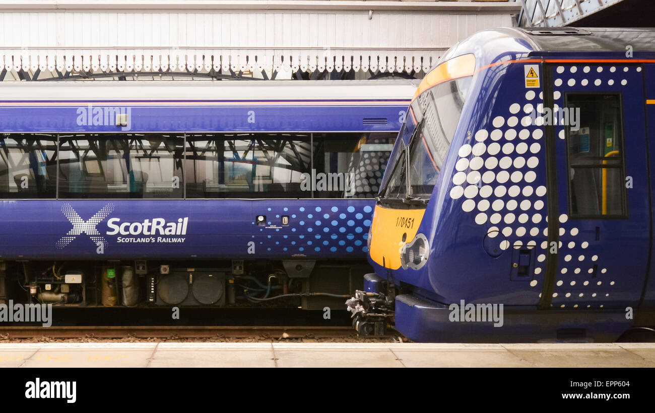 ScotRail logos on carriages, Stirling Station, Stirling, Scotland, UK - Stock Image