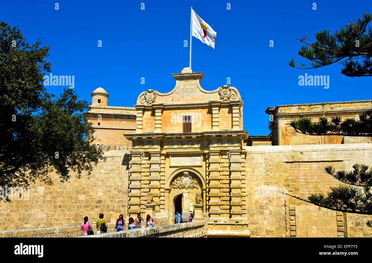 City Gate of Mdina, also Città Vecchia or Città Notabile, Malta - Stock Image