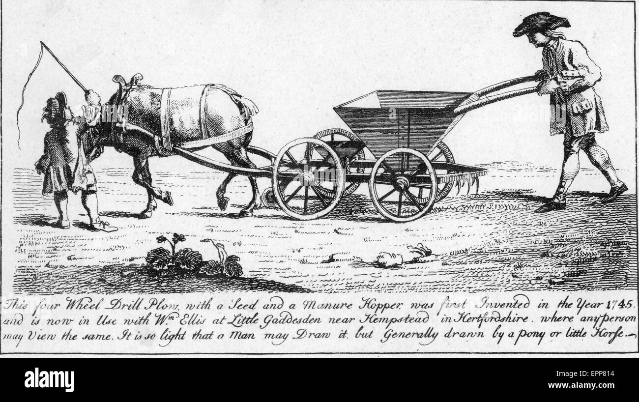 FOUR WHEEL DRILL PLOUGH from Trowell's The Farmer's Instructor,published in 1747. - Stock Image