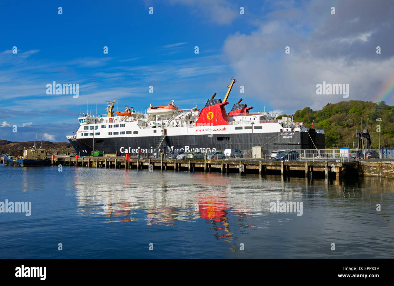 CalMac Ferry berthed at the port of Stornoway, Isle of Lewis, Outer Hebrides, Scotland UK - Stock Image