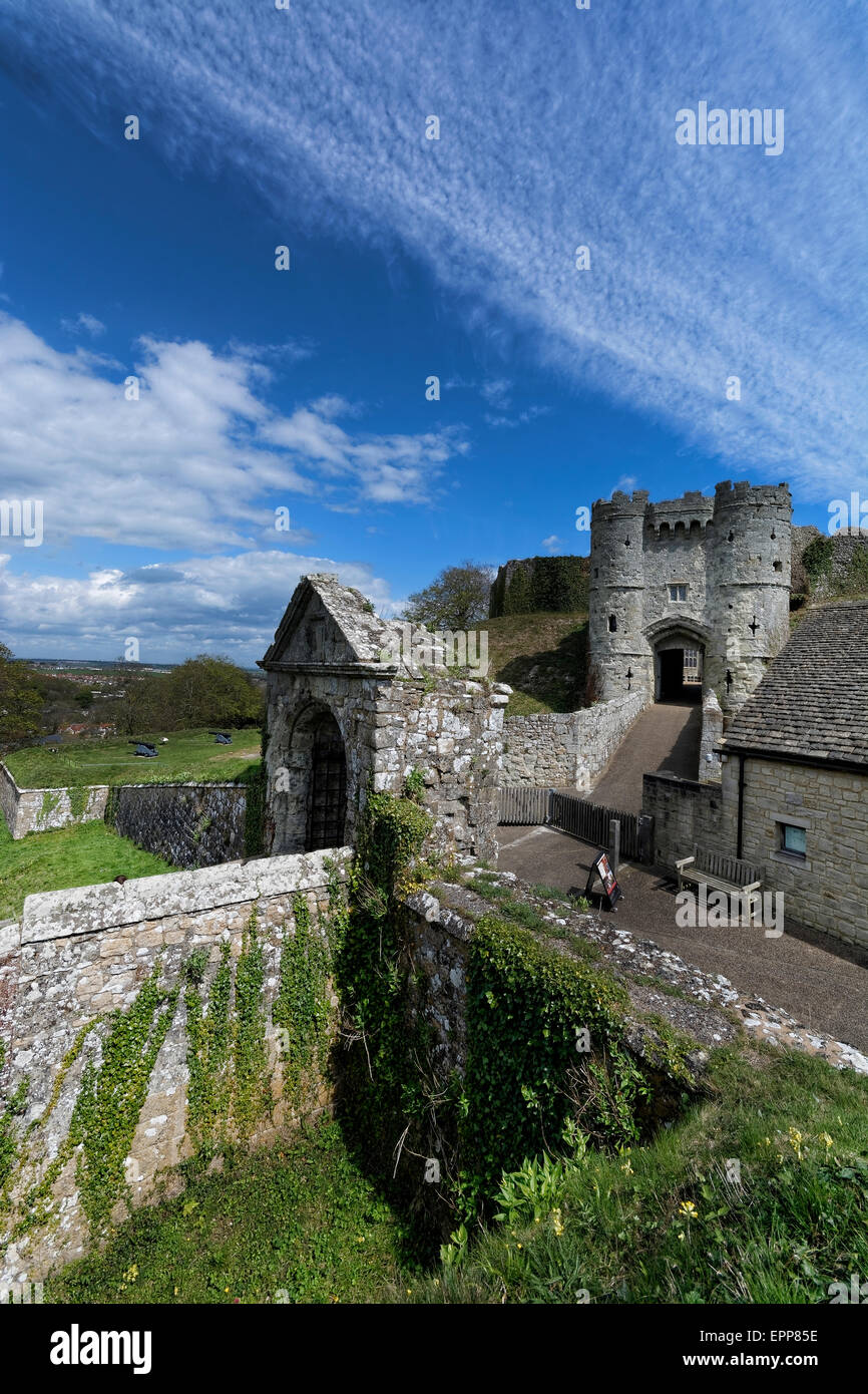 Carisbrooke Castle is a historic motte-and-bailey castle located in Carisbrooke, Isle of Wight, where Charles I Stock Photo