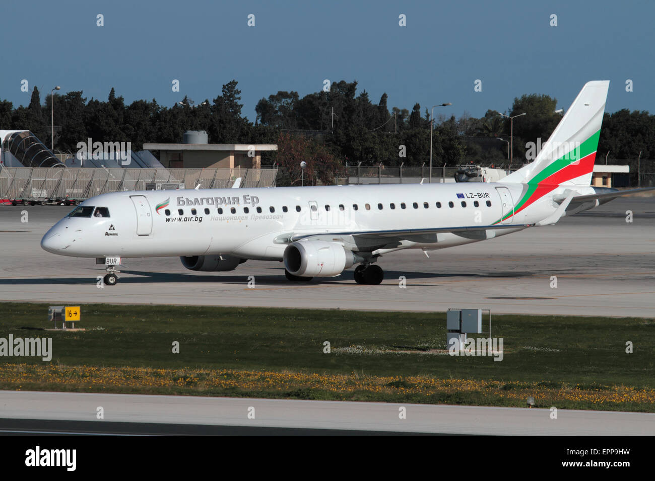 Bulgaria Air Embraer 190 regional jet plane or small airliner taxiing for departure. Commercial aviation and air - Stock Image