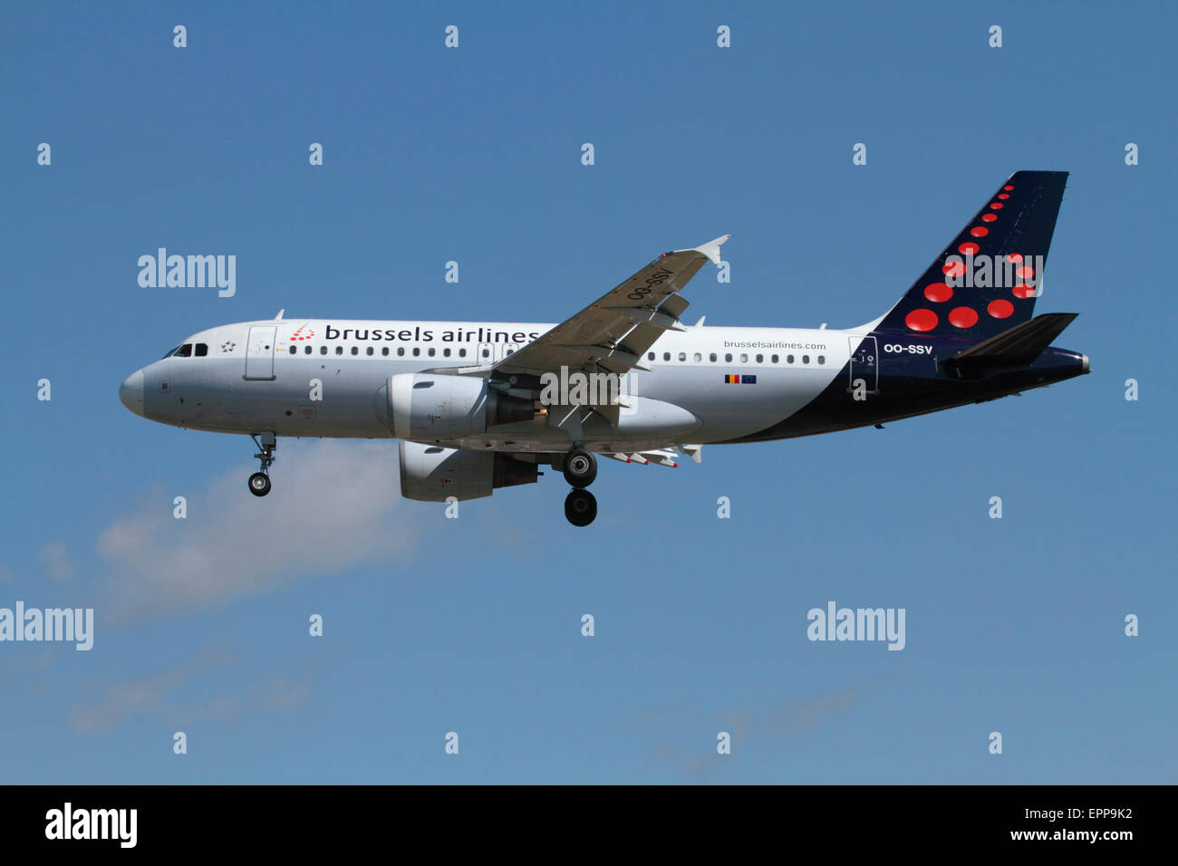 Brussels Airlines Airbus A319 passenger aircraft on approach - Stock Image