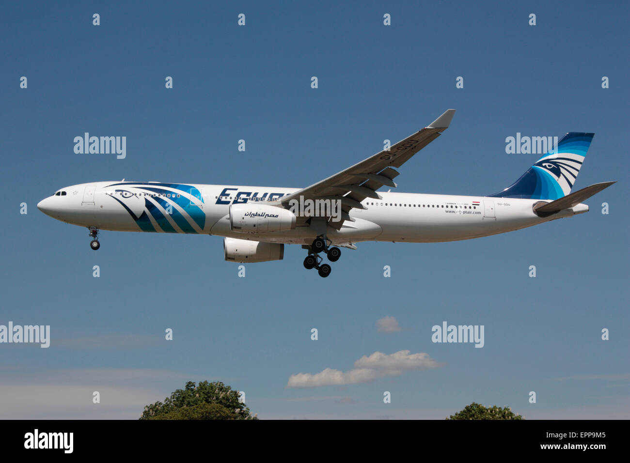 Egyptair Airbus A330-300 on approach to London Heathrow - Stock Image