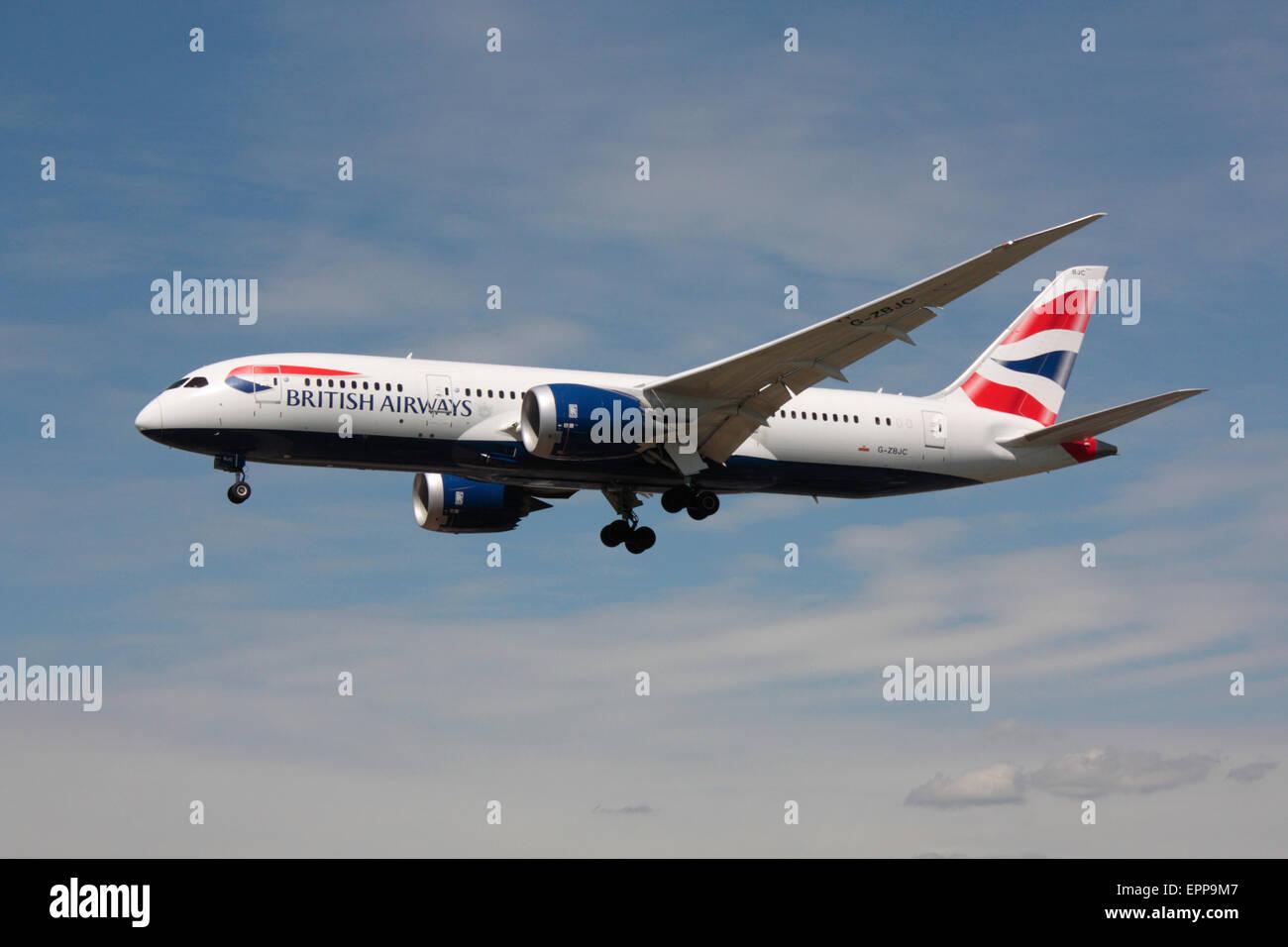 British Airways Boeing 787-8 Dreamliner long haul passenger jet plane on approach. Modern civil aviation. - Stock Image