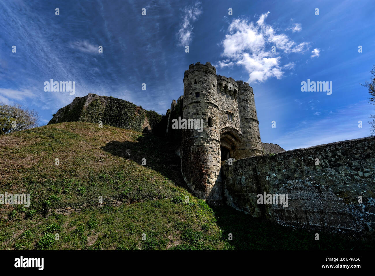 Carisbrooke Castle is a historic motte-and-bailey castle located in Carisbrooke, Isle of Wight, where Charles I - Stock Image