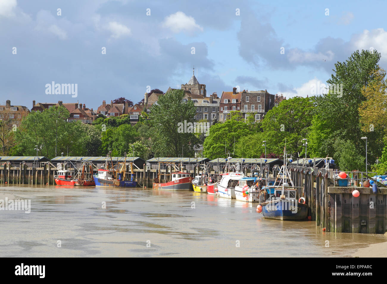 Fishing boats moored at Simmons Quay, Rye, East Sussex, GB, UK - Stock Image