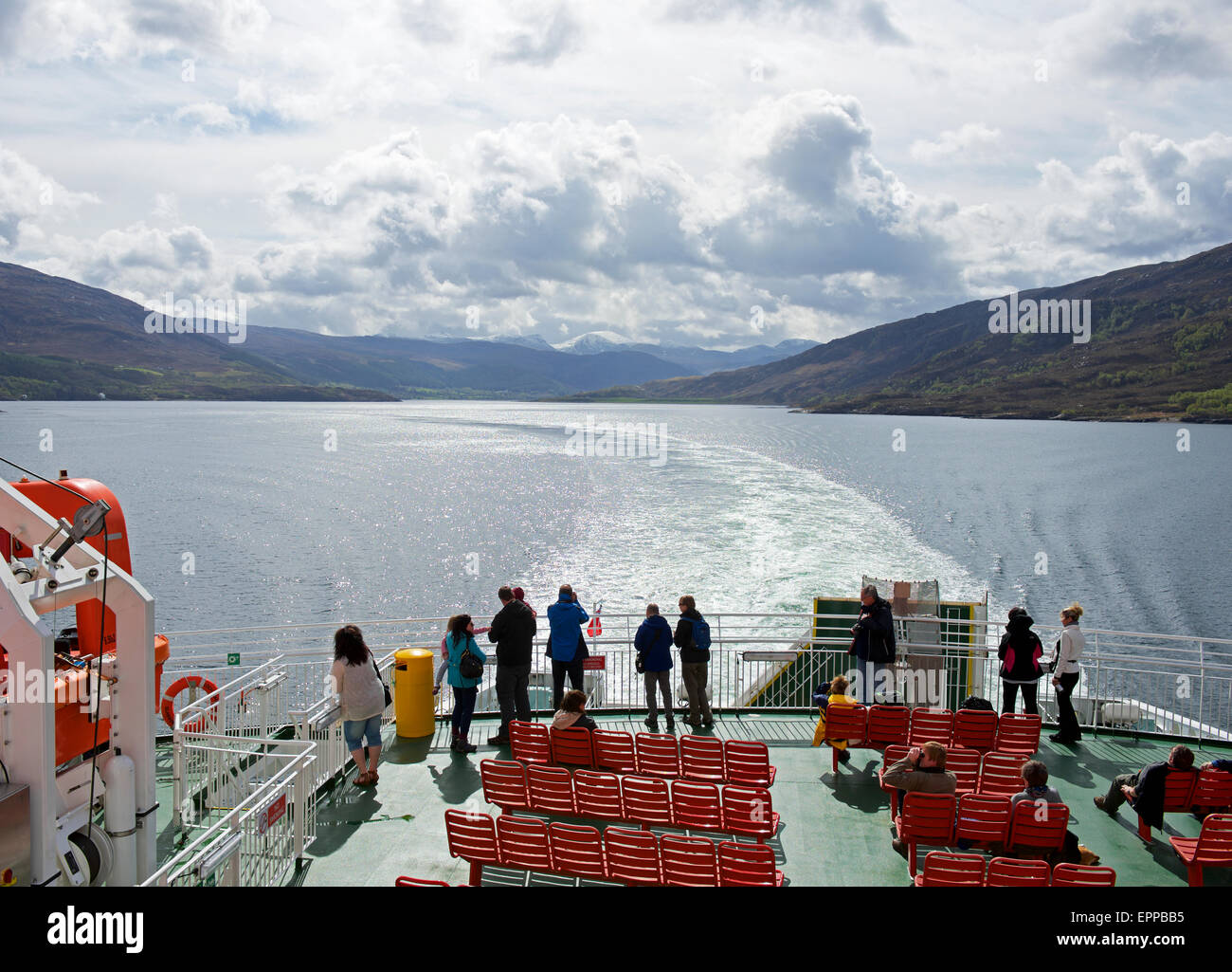Passengers on CalMac car ferry between Ullapool and Stornoway, Scotland UK - Stock Image